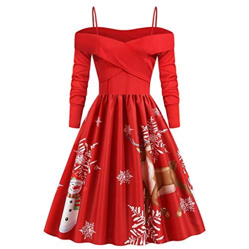 INLLADDY Weihnachtskleider Damen Retro Weihnachten Gedruckt Kleid Xmas Kleidung Cocktailkleid Schulterfrei Faltenrock Knielang Vintage Partykleid Abendkleider D M