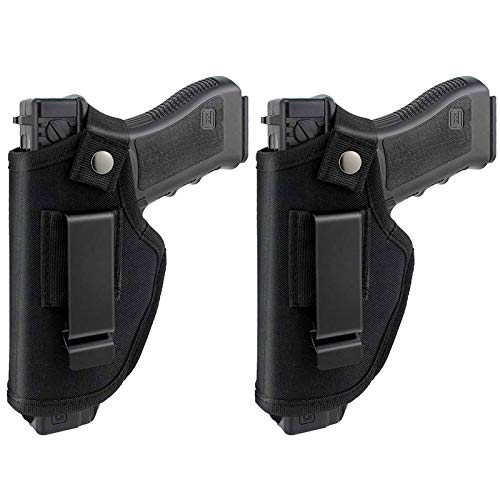 AIKATE 2 Pack Universal Concealed Carry Holster Inside or Outside The Waistband IWB Gun Holsters Right and Left Hand Draw Fits Subcompact Compact Full Size Pistols