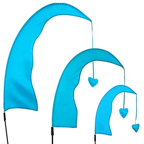 alles-meine.de GmbH Windfahne / Balifahne _ Farb & Größenwahl _ XXL - 2,2 Meter - blau - mit Stab / Fahnenstange - UV-beständig & wetterfest - Gartenfahne - Windrichtungsanzeige ..