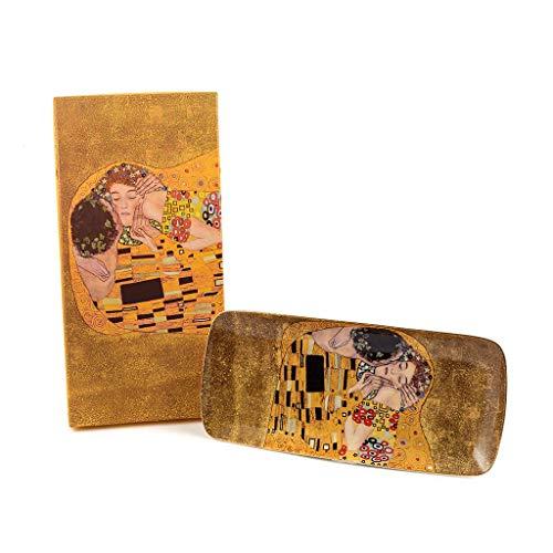 Gustav Klimt Art 'De Kus' porselein Ovaal dienblad, 30,3 X 13,5 X 2,5 cm, 590 Grams | Multi-Purpose kleine decoratieve lade voor thuis, restaurants en hotels