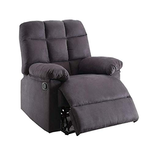 Poundex F6621 F6621 sillón reclinable Color Ebano tapizado en Tela de Microfibra, Color Ebano, Pack of/Paquete de 1
