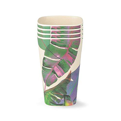 BIOZOYG Bio Becher Set Bambus Mehrwegbecher Jungle I Bambus Trinkbecher Set 4 Stück Ø 8cm, Höhe 12,5cm I Umweltfreundliche Bambus Geschirr Becher Kinderbecher Melamin Becher Picknick Becher 450ml
