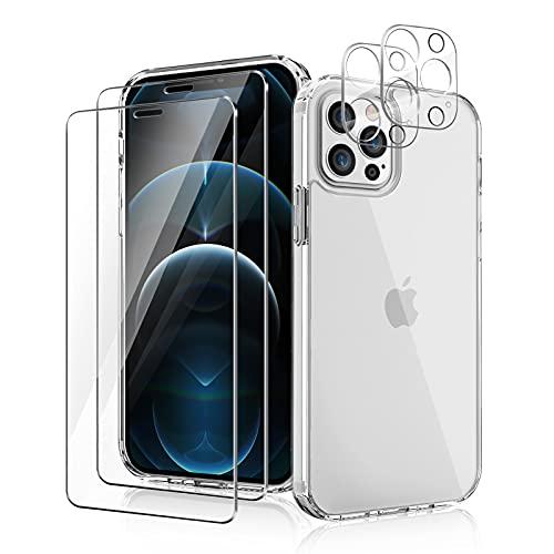 YIRSUR Hülle Kompatibel mit iPhone 12 Pro Max, mit 2 Panzerglas & 2 Kamera Schutzfolie, Transparent Hard PC & TPU Silikon Starke Stoßfestigkeit Hülle,6,7 inch - Clear