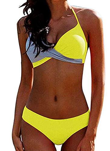 CheChury Donna Costume da Bagno Push Up Imbottito Reggiseno Bikini Due Pezzi Bikini Sexy Spiaggia Beachwear Swimwear Sportivo Mare Estate