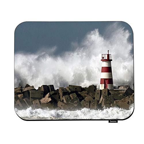Swono Lighthouse Mouse Pads Abstract Lighthouse and Sea Wave Mouse Pad for Laptop Funny Non-Slip Gaming Mouse Pad for Office Home Travel Mouse Mat 7.9'X9.5'