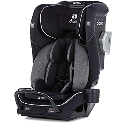 Diono Radian 3QXT 4-in-1 Rear and Forward Facing Convertible Car Seat, Safe Plus Engineering, 4 Stage Infant Protection, 10 Years 1 Car Seat, Slim Design - Fits 3 Across, Jet Black by AmazonUs/DIOWE