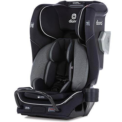 Diono Radian 3QXT 4-in-1 Rear and Forward Facing Convertible Car Seat, Safe Plus Engineering, 4 Stage Infant Protection, 10 Years 1 Car Seat, Slim Design - Fits 3 Across, Jet Black