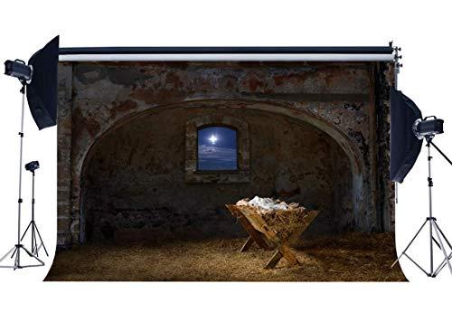 JoneAJ Weihnachtskrippe Kulisse 5X3FT Vinyl Geburt Jesus Christus Kulissen Alte Scheune Krippe Kreuz Heiligen Licht Stroh Weihnachten Fotografie Hintergrund Happy New Year Foto Studio QB113