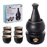 Lyty - Set di tazze da saki calde in ceramica per saki, 7 pezzi contiene 1 fornello, 1 ciotola termica, 1 bottiglia per saki, 4 tazze