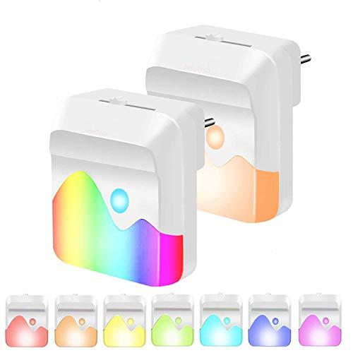 HebyTinco LED Nachtlicht Steckdose, 2 Stück Dimmbar RGB Farbwechsel Nachtlicht mit Schalter Einstellbarer Helligkeit, Nachtlicht mit Dämmerungssensor für Kinderzimmer, Treppenaufgang, Schlafzimmer