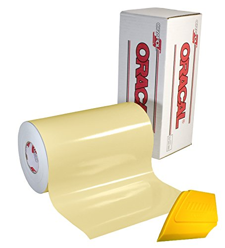 "ORACAL 651 Multi-Colored Vinyl Solvent-Based Adhesive-Backed Calendared Wrap Decals w/ Yellow Multi-Purpose Squeegee (12"" x 5ft, Cream)"