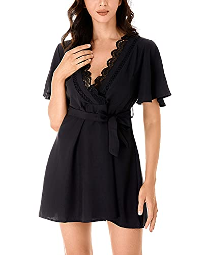 chuangminghangqi Vestidos de mujer de verano de color liso vestido de manga corta casual playa cuello V vestido de boda banquete vacaciones costuras de encaje Negro L
