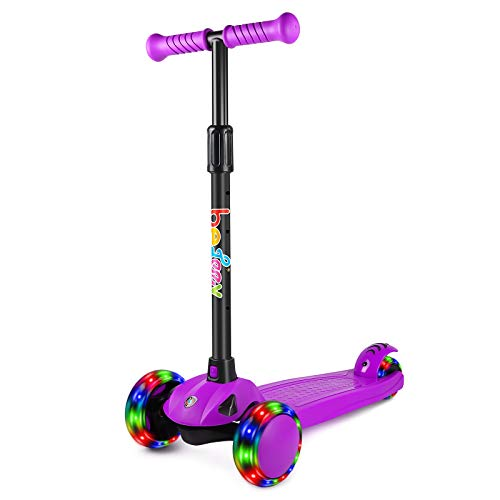 BELEEV Scooter for Kids, 3 Wheel Scooter for Toddlers With Steering Lock, 4 Adjustable Height, Kick Scooter with Flashing Wheels for Children Girls and Boys Age 3-8 Years (Purple)