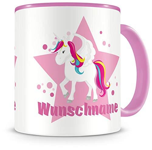 Samunshi® Kindertasse mit Namen Tasse großes Einhorn Personalisierte Tasse mit Namen Kinder Kinderbecher mit Namen Kindergarten rosa 300ml