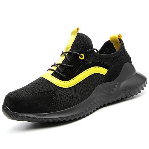 ZYSM Zapatos De Seguridad para Hombre Zapatillas Zapatos De Mujer Seguridad De Acero Ligeras Calzado De Trabajo para Comodas Unisex Zapatos De Industria Y Construcción,Negro,42