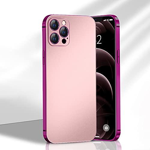 Funda para iPhone 12/12 Pro Suave y Duro silicona Esmerilada Cubierta Ultradelgado Airbag Prueba de Golpes Enchapado Frontera Case Imitación Metal Oleofóbico Antihuellas Te(Size:IP12PROMAX,Color:Rosa)