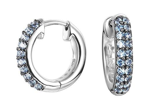 ESPRIT Damen-Creolen JW52889 Ohrringe Messing rhodiniert Spinell blau-ESCO01691D000