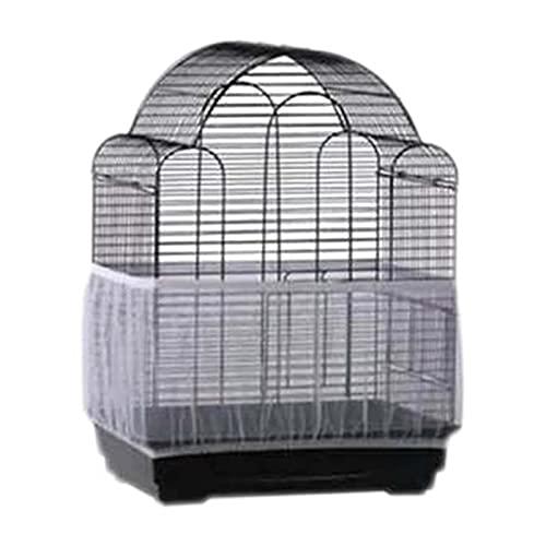 Cubierta para jaula de pájaros, malla de malla de malla para jaula de pájaros, protector de falda, tamaño grande, lavable a máquina (blanco, tamaño: S)