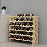 soges Étagère à Bouteilles Casier à vin Bouteilles en Bois Non traité avec 6 étages pour 48 Bouteilles,Taille 90 * 30 * 81CM