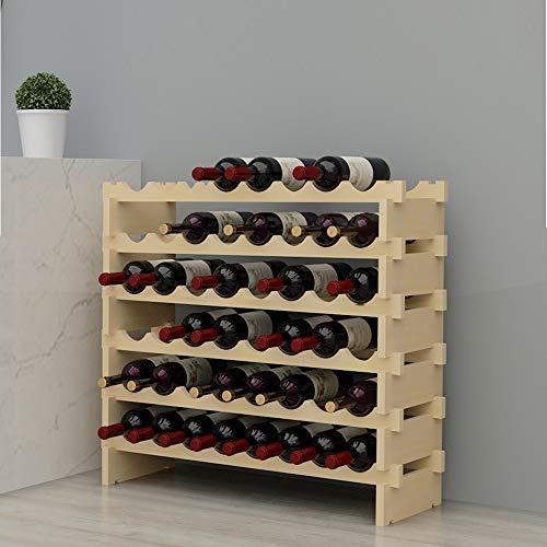 DlandHome 6 Niveles Botellero para 48 Botellas de Vino Botellero de Madera con Portavaso 90 x 30 x 81cm