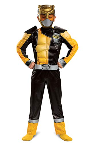 Gold Ranger Outfit for Kids, Beast Morphers Power Ranger Costume, Muscle Padded Character Jumpsuit, Child Size Large (10-12)