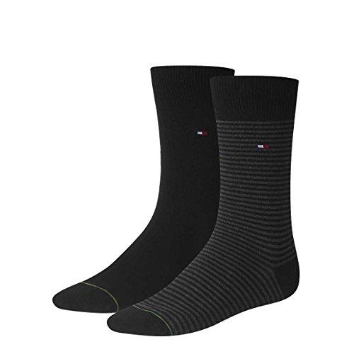 Tommy Hilfiger 4 pairs Men's SMALL STRIPE Socks Gr. 39-46 Business sneaker socks, Farben:200 - black, Größe Bekleidung:L