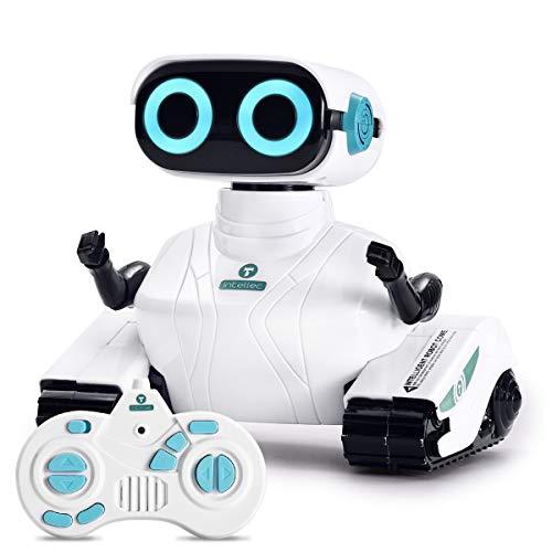 ALLCELE Robot Teledirigido de Juguete para Niños, Juguetes Vehículos con Control Remoto 2.4G, Ojos LED, Regalos de Cumpleaños Navideños Ideales para Niños de 6 Años en Adelante (Blanco)