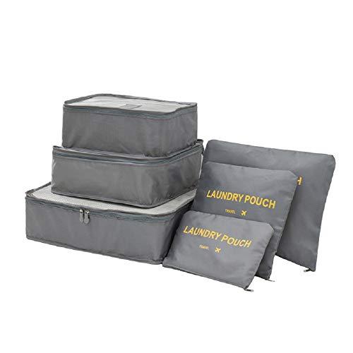 Organizador de Equipaje 7 en 1 Set Organizador de Maletas Impermeable Viaje con Bolsa de Zapato, Material Nylon-Meowoo(Gris)