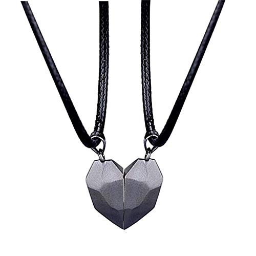 Two Souls One Heart Necklace Couple Neck Chain, Lightweight Simple Pendant Gift, Couple Magnetic Heart Necklace for Men Women Black
