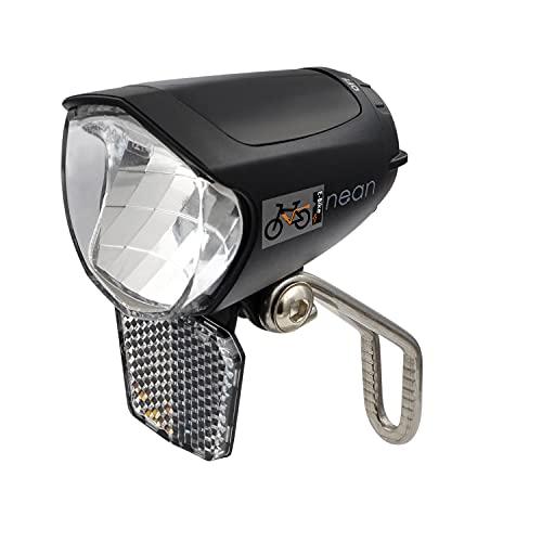 nean Fahrrad E-Bike Frontleuchte, Frontscheinwerfer, Scheinwerfer, mit Reflektor und StVZO-Zulassung, 70 LUX Helligkeit, Aluminium-Kühlplatte, schwarz