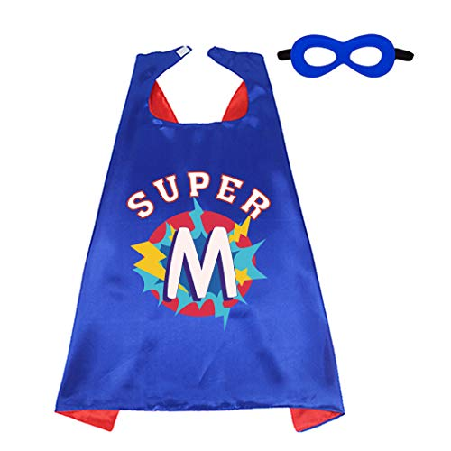 D.Q.Z Superhero Cape and Mask for Kids with Initial Letter Name Blue Red (Super M)