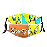 Tweety Bird Face Mask Anime for Men Women Cloth Adjustable Washable with Carbon Filters Nose Cover Black