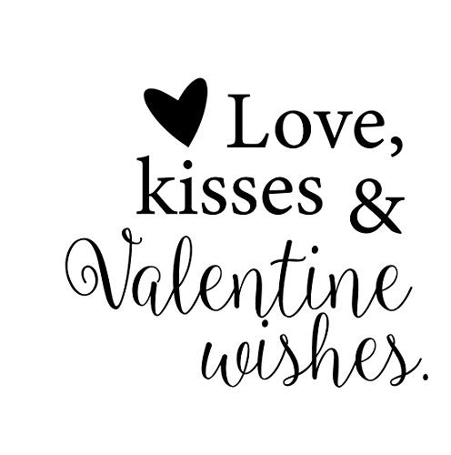 CustomVinylDecor Valentines Quote Love Kisses & Valentine Wishes | Holiday Vinyl Wall Sticker | Small, Large Sizes | Black, Pink, Green, Red