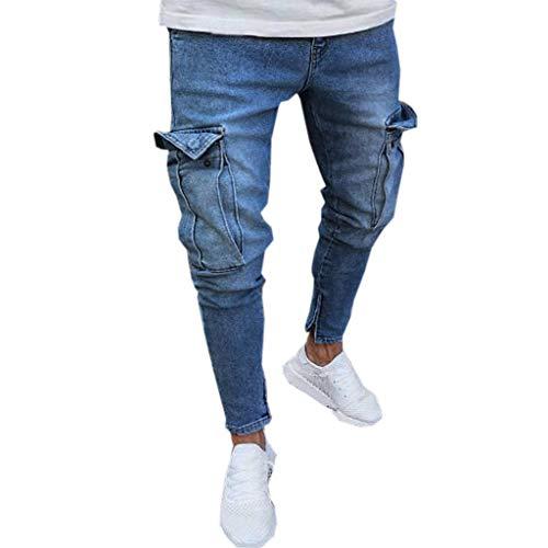 Fannyfuny Mode Herren Destroyed Jeans-Hose mit Taschen Reißverschluss Herren Slim Fit Jeans Denim Used Look Mit Destroyed-Optik Teen Jungen Party Kleidung Hellblau S-XXXXL