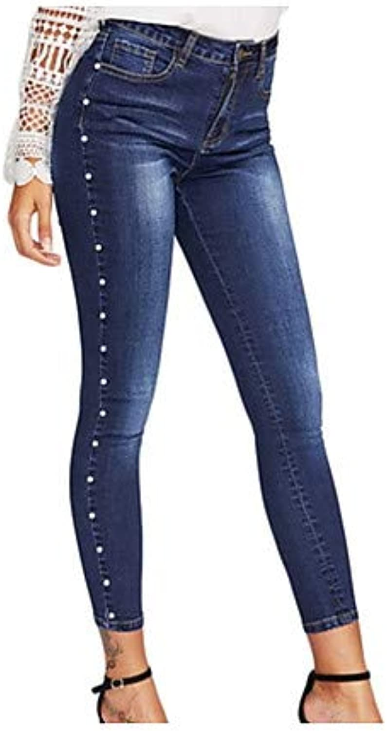 Women's Cotton Slim Jeans Pants  Solid colord