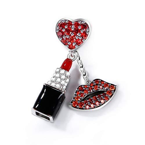 GNOCE Rot Stein Lippenstift Charm Anhänger Mit Roten Lippen 925 Sterling Silber