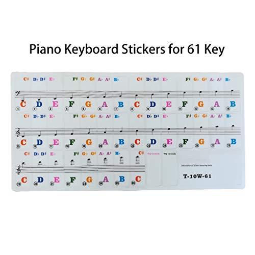 shiftX4 Kleurrijke Grotere Letter Verwijderbaar, Piano Toetsenbord Stickers Speciaal voor 61 Sleutel