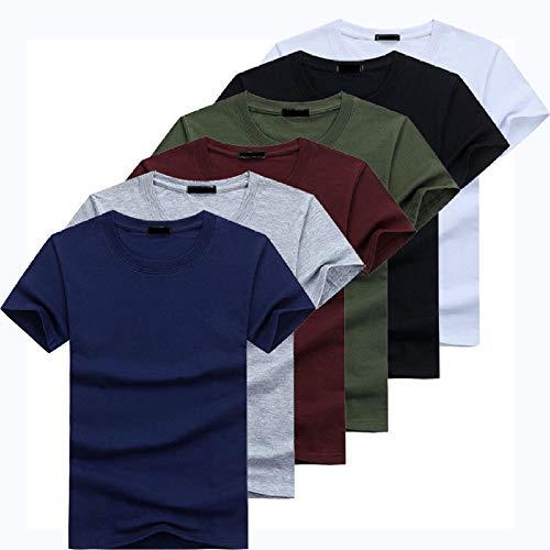 Qier Tshirt Herren Kurzarm-Oberteile, Lässiges Basic-Baumwoll-T-Shirt, Einfarbige T-Shirts, 6 Stück/Set, Mehrfarbig, 5XL