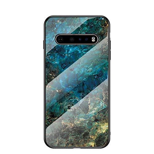 BRAND SET Funda para LG G9 ThinQ 5G Caja de Vidrio de Mármol Templado Funda de Silicona Ultrafina Case para LG G9 ThinQ 5G (BLU)