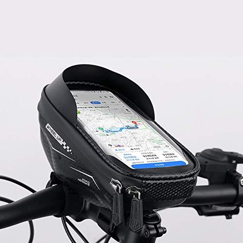 ND Bolsa para marco de bicicleta, impermeable, para bicicleta, con pantalla táctil de TPU y pantalla táctil con visera solar y cubierta de lluvia, apto para smartphones de menos de 6,5 pulgadas