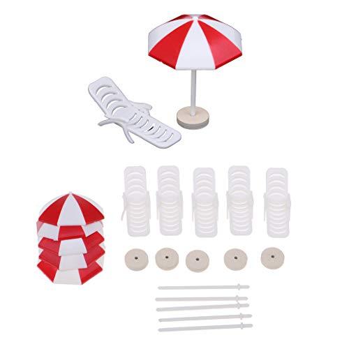 Baoblaze 1/12 Puppenstube Gartenmöbel -5X Sonnenschirm + 5X Liegestuhl - Puppenhaus Dekoration - Rot + Weiß