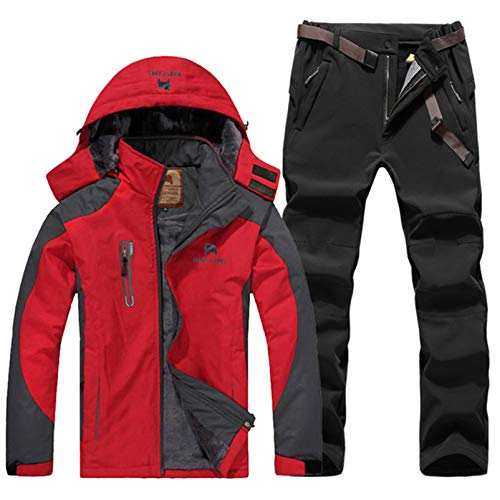 ESFHWYP Herren Skianzug Set Winter Wandern Skifahren Wasserdichtes Fleece Warme Jacken Angeln Trekking Skijacke + Hose Color-3 4XL