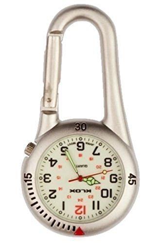 Taschenuhr Silber Karabinerhaken Mit Weißem Ziffernblatt Silber Ideal Für Ärzte Krankenschwestern Sanitäter Köche