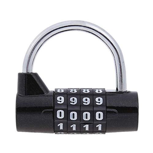 Candado de combinación de código de 4/5 dígitos, 1 candado de seguridad con combinación de bloqueos reajustables, material de aleación de zinc resistente al agua (rojo/azul/negro/plata)