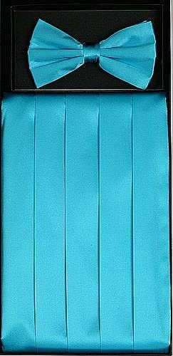 Classy Turquoise Cummerbund and Bow Tie Set with Box