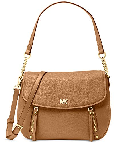 """Made of genuine pebbled leather with gold tone hardware Strap with 9"""" drop; adjustable, removable longer strap with 22"""" drop Flap with magnetic snap closure; 2 exterior front zip pockets; exterior back snap pocket Fabric lined interior features 1 zip..."""