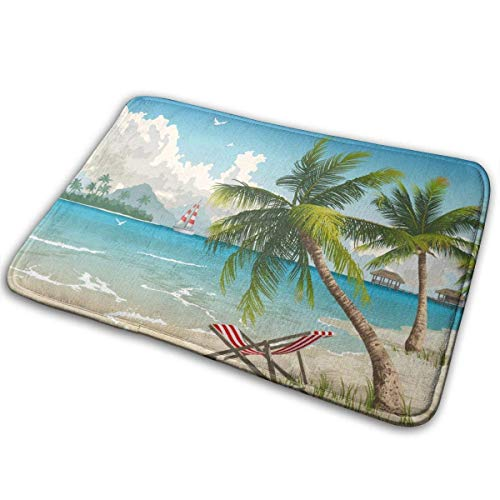 LnimioAOX Palm Trees Summer Beach Chair Polyester Flannel Bath Mat Non Slip Extra Cozy and Absorbent Shaggy Rug Dry Fast Perfect for Bathroom Indoor Tub Shower Bedroom Living Room Carpet