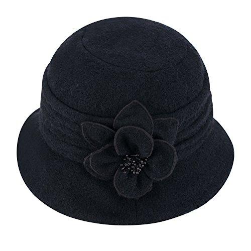 Cappello cloche invernale da donna, elegante, classico, in morbida lana, con fiore, A299 Black Taglia unica