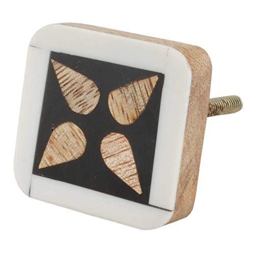 IndianShelf 20 piezas hechas a mano de madera negra flor cajón aparador tiradores gabinete puerta cocina