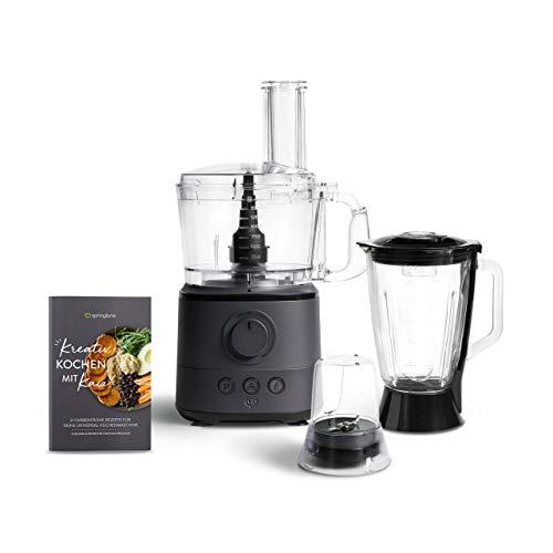 Küchenmaschine Kaia 1000W, 1,5L Behälter, Food Processor inkl. 4 Schneidescheiben, Messereinsatz, Knethacken, 150ml Mini-Zerkleinerer, Rezeptheft - Anthrazit